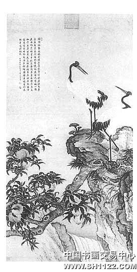 蟠桃双鹤图-经典艺术赏析-中国书画交易中心,中国书画