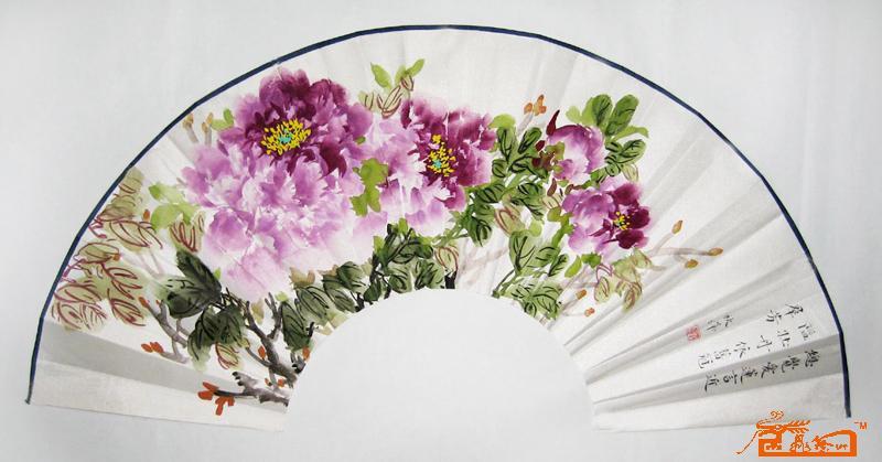 刘耀霞作品扇面牡丹山水国画当代当代书法绘画拍卖销售价-王雪涛国图片