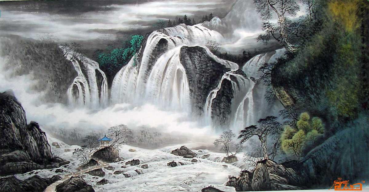 壁纸 风景 国画 旅游 瀑布 山水 桌面 1200_625