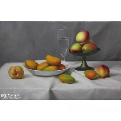 名家 张之琦 油画; - 张之琦 芒果和桃子的静物 类别: 西画雕塑yh精品
