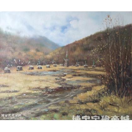 名家 谭俊铭 油画;当代艺术; - 谭俊铭 羌族祭祀场 类别: 风景油画