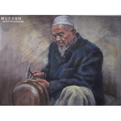 胡立义《新疆老人》 类别: 人物油画j