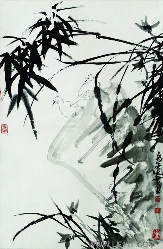 岳健 张岳健的作品 竹鸟图 淘宝 名人字画 中国书画服务中心 中国书画