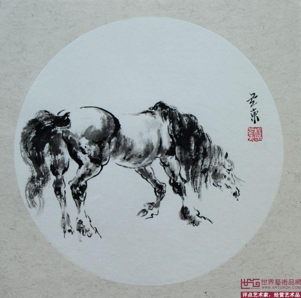 名家 杨芝东 国画 - 写意马团扇