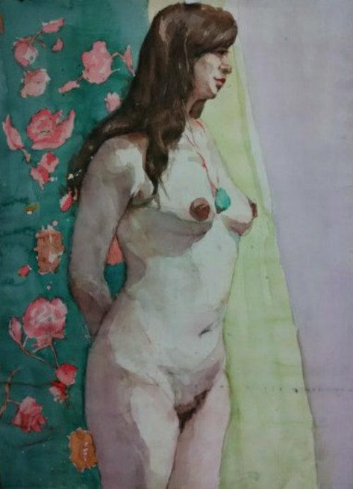 中国书画家联合网店 - 著名画家精品人物水彩画《裸女》画面漂亮